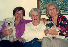 Monica, my mother, and I with Monica's dogs, Arizona, 2003. Monica is married with a Dutch man; they have no children.