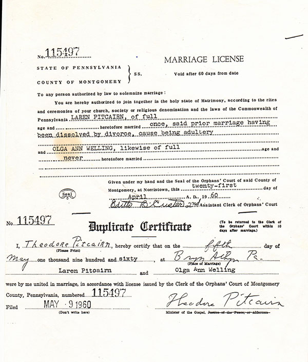 mrriage license may 1960