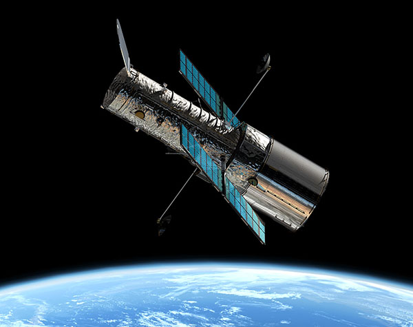 This image shows an artist's impression of the ESA/NASA/ESA Hubble Space Telescope in its orbit 600 km above the Earth.