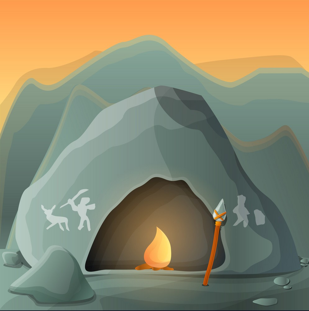 Stone age cave concept background. Cartoon illustration of stone age cave vector concept background for web design